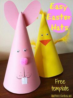 Schattige hoedjes voor Pasen. Goedkope knustel tip van Speelgoedbank Amsterdam voor kinderen en ouders. Paasknutsel.
