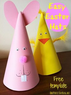 Cute and easy Easter bunny and chicken hats. Post has a free downloadable template. So fun!