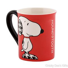 Peanuts Mug SNOOPY HOUNDSTOOTH 4040299 16 oz Coffee Cup Department 56  NEW