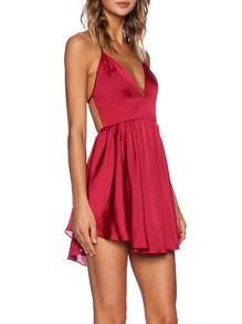 Red Spaghetti Strap Criss Cross Back Pleated Dress