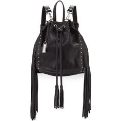Urban Originals Forbidden Fringe Bucket Backpack ($49) ❤ liked on Polyvore featuring bags, backpacks, backpack, fringe backpacks, long strap bags, strap backpack, bucket backpack and zip bag