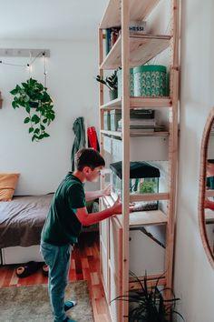 regał ivar Ikea Nursery, Kura Bed, Ikea Furniture, Ikea Hack, Ladder Decor, Home Decor, Decoration Home, Room Decor, Interior Decorating