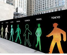 Walking Men 99™ is a site-specific public art installation by Maya Barkai. Surrounding the site of the new Four Seasons Hotel in NYC's Downtown area is a photographic collage of 99 pedestrian traffic-light icons collected from around the world.