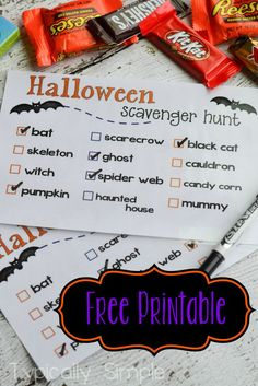 Halloween Scavenger Hunt Free Printable