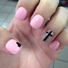 Pink Mani With Black Nail Art and Silver Glitter