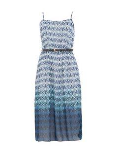 Blue Aztec Print Belted Chiffon Sun Dress