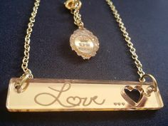 BAR Necklace Custom Laser Cut and Engraved Bar by TSWCouture