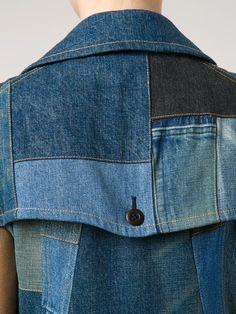 Купить Junya Watanabe Comme Des Garçons расклешенное джинсовое платье в лоскутной стиле.