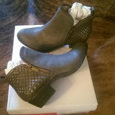 Awesome taupe studded booties Taupe boots side zipper on both sides with diamond cut on back sides..size 6.5..brand new! Shoes Ankle Boots & Booties
