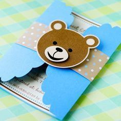 Impress your guests at your next Birthday, Baby Shower, or any party with these unique Teddy Bear invitations! I have created these gate fold Teddy Bear Party, Teddy Bear Baby Shower, Baby Boy Shower, Teddy Bears, Baby Shower Invitaciones, Baby Shawer, Baby Blue, Bear Birthday, Baby Cards