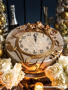 Stroke of Genius Created by Natalie Madison of Natalie Madison's Artisan Cakes, the elegant clock cake—with the time set just before the stoke of ...