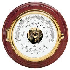 "BARIGO Captain Series Barometer-Thermometer - Brass & Mahogany - 6"" Dial"