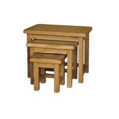 Rustic Solid Oak SRDT28 Small Nest of Table  www.easyfurn.co.uk Solid Oak Furniture, Living Furniture, Rustic Furniture, Dark Stains, Mortise And Tenon, Cabinet Makers, Round Corner, Rustic Charm, Bar Stools