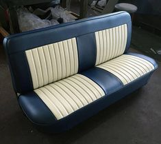 Cream And Brown Bench Seat With Red Piping Intiors