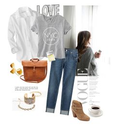 """""""Love Of NYC"""" by rever-de-paris ❤ liked on Polyvore featuring 7 For All Mankind, Old Navy, rag & bone, J.Crew, DANNIJO and Michael Kors"""