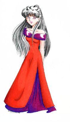 Setsuna in a red dress
