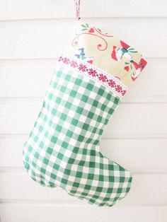 Stocking Christmas Holiday large green white checked by poppyshome