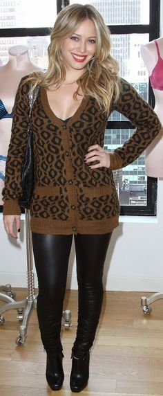 leather pants and print tops