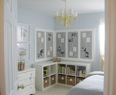 Trendy Little Boys Bedroom Design Inspirations : Classic Light Blue Walls Little Boys Bedroom with White LShaped Bookshelf and Classic Pendant Lamp