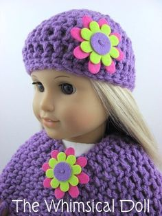 Crocheted 3 Piece Poncho Set for American Girl 18 inch Doll
