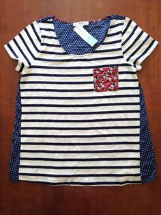 STILL REALLY WANT THIS!!! Such a cute casual top! Florals & stripes!! Ezra Ritz Mixed Pattern Front Pocket Knit Shirt