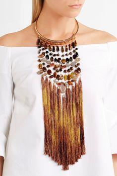 Rosantica   Rum tasseled gold-tone beaded necklace   NET-A-PORTER.COM