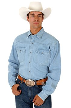 Roper Mens Basics Blue 100% Cotton L/S 6 Oz Lite Denim Snap Western Shirt