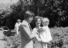 1959. By Phillip A. HARRINGTON. Jack, Jacqueline, and Caroline in Hyannis Port