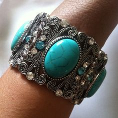 2 LEFT- Turquoise and silver crystal bracelet Made of 18K plated metals. Nickel and lead free. Smoke free and cat friendly home. T&J Designs Jewelry Bracelets