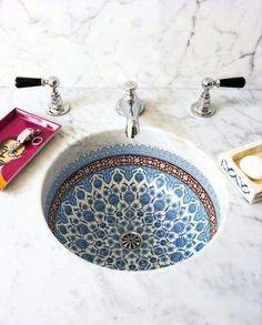 sink, portuguese tile, pattern, blue, white, design, interior