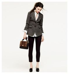 Blazer & skinny crops. Not sure about the shoes. #fall #fashion #style