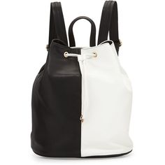 Neiman Marcus Faux-Leather Colorblock Drawstring Backpack ($36) ❤ liked on Polyvore featuring bags, backpacks, faux leather drawstring backpack, drawstring backpack, black bag, black drawstring bag and vegan leather bags
