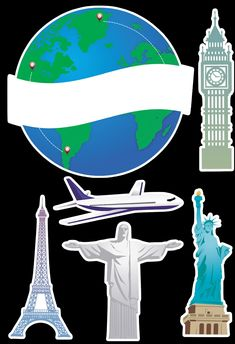 símbolos. Vuelta al mundo Suitcase Stickers, Travel Cake, Agenda Planner, Clipart, Cupcake Toppers, Vector Art, Pizza Italy, Party Themes, Wings