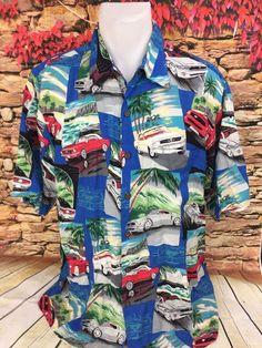 0cc7e3ff8da REYN SPOONER Blue Ford Mustang Print Mens Hawaiian Aloha Shirt Rayon Large