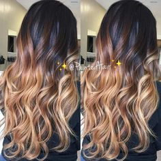 Caramel Balayage Ombre on Long, Dark Hair