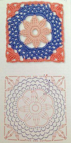 My Crochet Dream Crochet Motif Patterns, Granny Square Crochet Pattern, Crochet Diagram, Crochet Squares, Crochet Granny, Crochet Stitches, Granny Squares, Crochet Quilt, Crochet Blocks