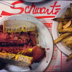 Montreal style smoked meat at the famous restaurant, Schwartz's.