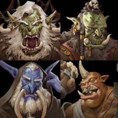 ArtStation - Portrait Stuff for Green Skin : Dungeon Master, Blake Byun Character Portraits, Character Drawing, Character Design, Warcraft Orc, World Of Warcraft, Medieval, Creature Concept Art, Fantasy Races, Fantasy Monster