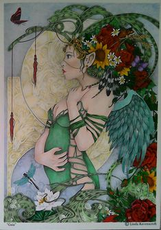 Gaia from Linda Ravenscroft's Fairy colouring book one. Polychromos, Marvy LePlume markers and Staedtler pen markers.