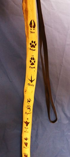 Hickory Hiking Stick with Leaf ID, Track ID, Compass and Leather Grip