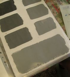 Graphite. The colour on the top left of each page is the original colour,   and then each lighter shade has been mixed with one extra part of Old White.   So the second swatch is mixed with one part Old White,   then two parts, then three...