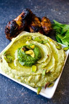 Pistachio Pesto Hummus is an amazing result of two already-addictive foods; hummus and pesto. This will be your most favorite way of eating hummus! Pistachio Recipes, Pistachio Pesto, Pesto Hummus, Hummus Dip, Vegetarian Recipes, Cooking Recipes, Healthy Recipes, Healthy Snacks, Stay Healthy
