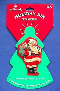 PUFFED TIN LAPEL PIN was made by Hallmark in the 1990s. Xmas, Christmas Ornaments, Lapel Pins, Vintage Christmas, Tin, Vintage Jewelry, Santa, Holiday, 1990s