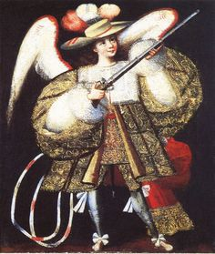 An ángel arcabucero (arquebusier angel) is an angel depicted with an arquebus (an early muzzle-loaded firearm) instead of the traditional sword, dressed in clothing inspired by that of Spanish aristocrats. The style arose in the Viceroyalty of Peru in the second half of 17th century and was especially prevalent in the Cuzco School.