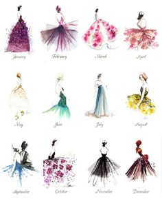 Fashion illustration art print calendar every month of the year (mw)