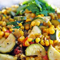 Calabacitas Recipe with Summer Corn, Zucchini, Green Chiles and Lime with 150 calories. Includes olive oil, squash, corn kernels, plum tomatoes, green chile, jalapeno chilies, garlic, sea salt, lemon pepper, ground cumin, sweetener, lime, chopped cilantro fresh, lime wedges.