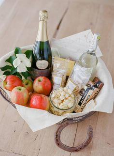 Wedding welcome basket with Le Grand Courtage sparkling wine ...