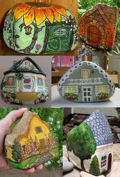 Painted Rock Miniature Fairy Houses