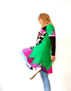 M-L Crazy green printed recycled dress tunic with appliqued in form triangle.