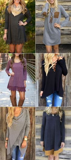 Make them one of the most stylish pieces in your wardrobe in spring. Lace hem dresses, long sleeve dress, lace-up tees, tasseled knitwear, color block dress or other fashion styles at OASAP.COM ! beautiful clothes #fashion